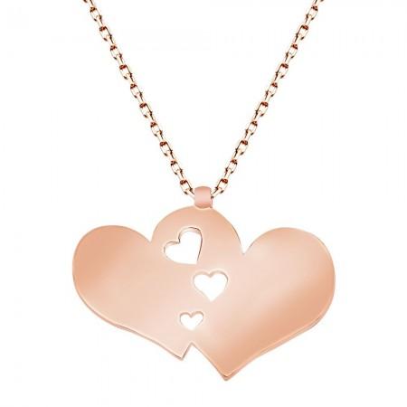 Tesbihane - 925 Ayar Gümüş Roze Kaplamalı Çift Kalp Tasarım Kolye
