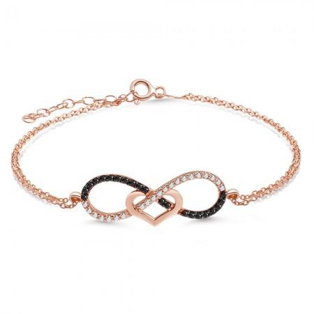 - 925 Ayar Gümüş Roze Kaplamalı Kalp Model Sonsuzluk Bileklik