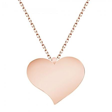 - 925 Ayar Gümüş Roze Kaplamalı Kalp Tasarım Kolye