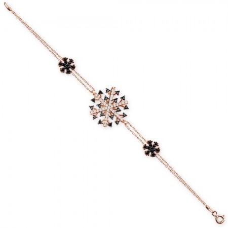 - 925 Ayar Gümüş Roze Kaplamalı Kar Tanesi Model Bileklik (SRD0314)