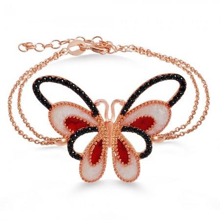 - 925 Ayar Gümüş Roze Kaplamalı Kelebek Bileklik