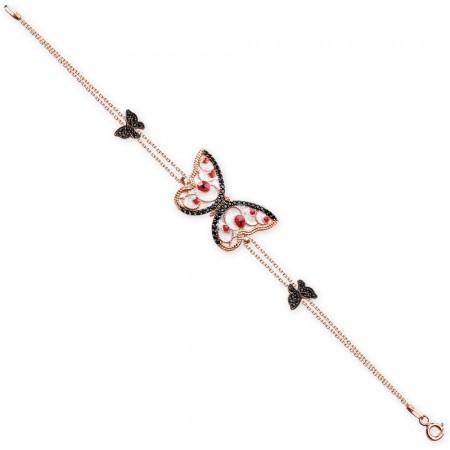 - 925 Ayar Gümüş Roze Kaplamalı Kırmızı Zirkon Taşlı Kelebek Bileklik (SRD0302)