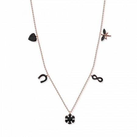 Tesbihane - 925 Ayar Gümüş Roze Kaplamalı Siyah Zirkon Taşlı Şans Kolye
