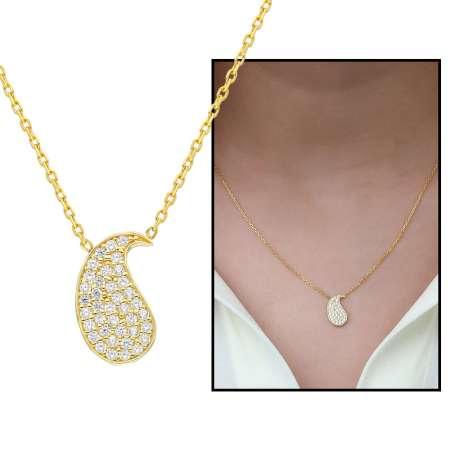 Tesbihane - Beyaz Zirkon Taşlı Şal Deseni Tasarım 925 Ayar Gümüş Bayan Kolye
