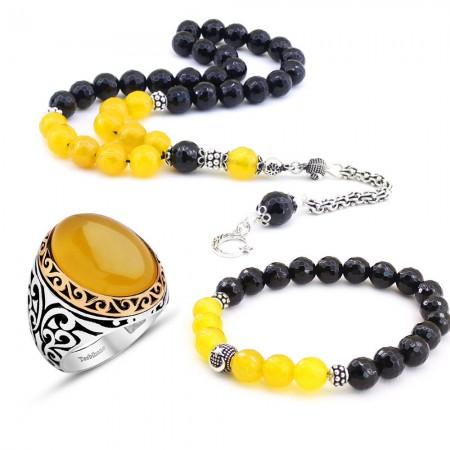 Tesbihane - 925 Ayar Gümüş Sarı Akik ve Oniks Taşlı Tesbih - Bileklik - Yüzük Kombini