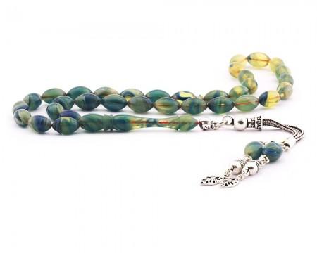 - 925 Ayar Gümüş Püsküllü Arpa Kesim Sarı Yeşil Hareli Sıkma Kehribar Tesbih