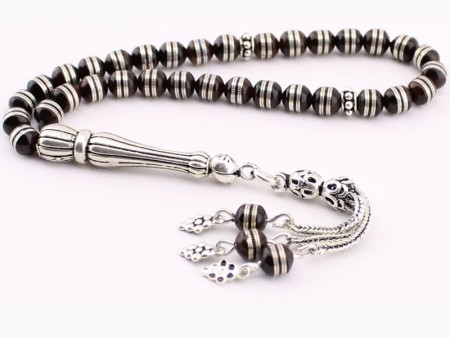 - 925 Ayar Gümüş Sarmal İşlemeli Kuka Tesbih