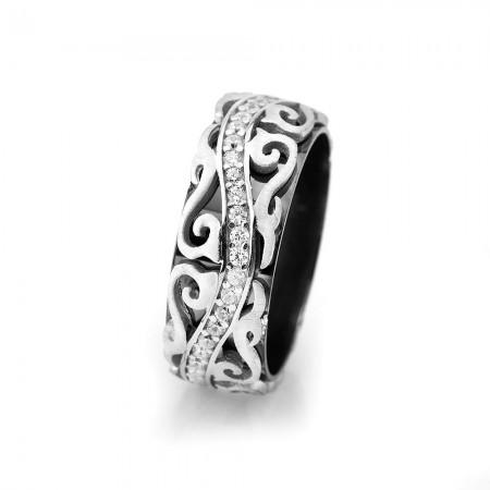 - Sarmaşık Desen İşlemeli Zirkon Taşlı 925 Ayar Gümüş Bayan Alyans