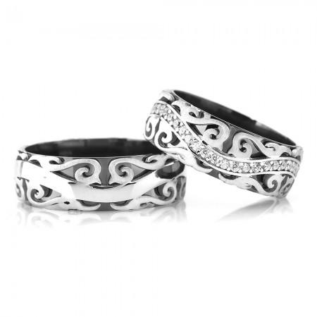 - Sarmaşık Desen İşlemeli 925 Ayar Gümüş Çift Alyans