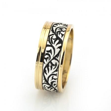 - Sarmaşık Desen İşlemeli Gold Renk 925 Ayar Gümüş Erkek Alyans
