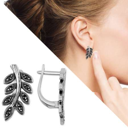 - Siyah Zirkon Taşlı Sarmaşık Tasarım 925 Ayar Gümüş Küpe
