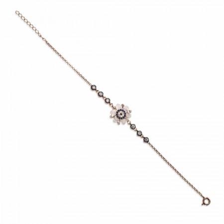Tesbihane - 925 Ayar Gümüş Sedef Çiçek Model Bileklik