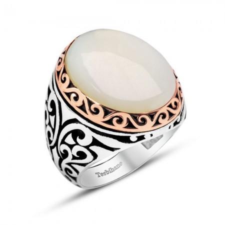 - Özel Tasarım Beyaz Sedef Taşlı 925 Ayar Gümüş Erkek Yüzük