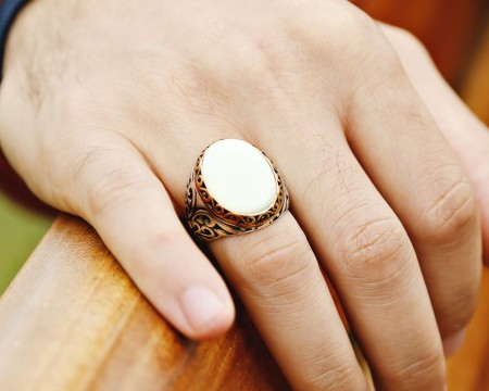 - 925 Ayar Gümüş Sedef Taşlı Özel Tasarım Yüzük