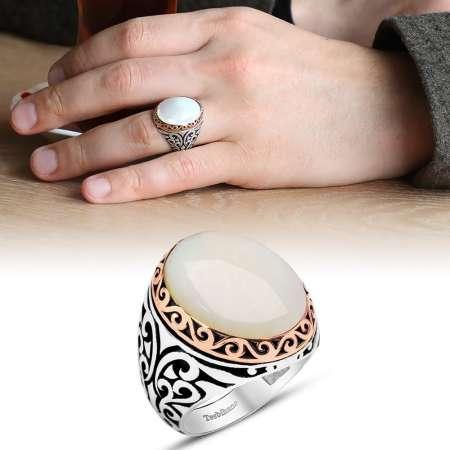 Tesbihane - Özel Tasarım Beyaz Sedef Taşlı 925 Ayar Gümüş Erkek Yüzük