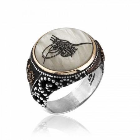 - 925 Ayar Gümüş Sedef Üzerine Tuğra İşlemeli Yüzük