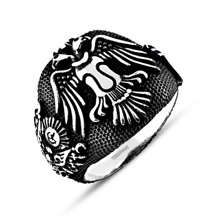 925 Ayar Gümüş Selçuklu Kartalı Tuğra Armalı Yüzük