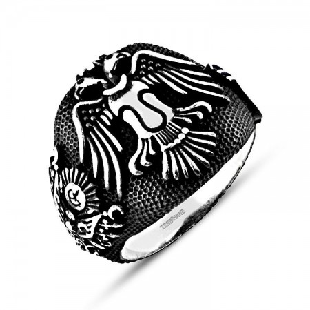 Tesbihane - 925 Ayar Gümüş Selçuklu Kartalı Tuğra Armalı Yüzük