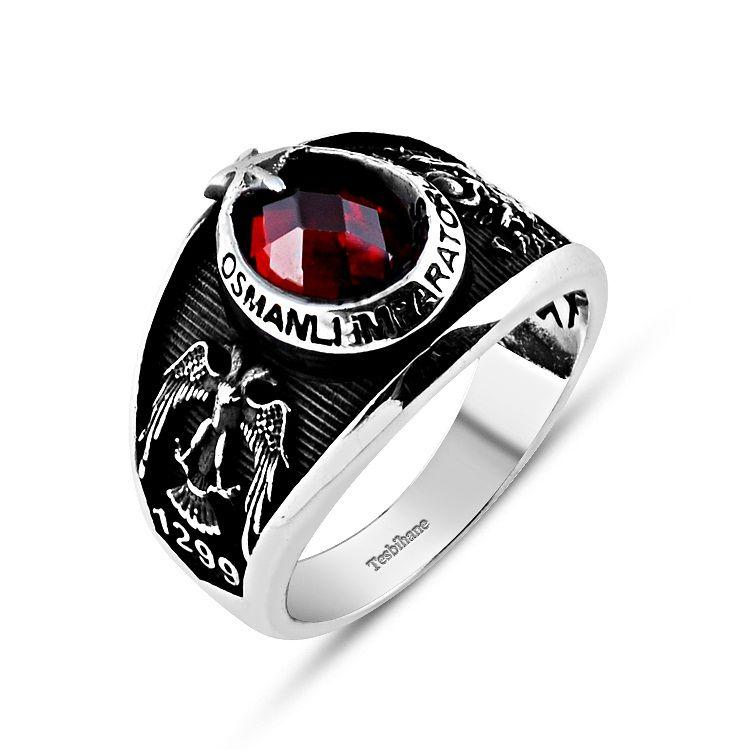 925 Ayar Gümüş Selçuklu Kartallı Armalı İmparator Yüzüğü 2