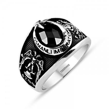 Tesbihane - 925 Ayar Gümüş Selçuklu Kartallı Armalı İmparator Yüzüğü