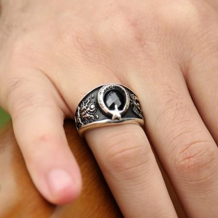 - 925 Ayar Gümüş Selçuklu Kartallı Armalı İmparator Yüzüğü