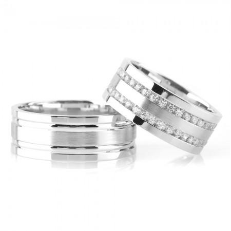 - Çift Simetrik Şerit Tasarım Gri Renk 925 Ayar Gümüş Çift Alyans