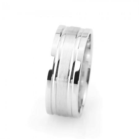 Tesbihane - Çift Simetrik Şerit Tasarım Gri Renk 925 Ayar Gümüş Erkek Alyans