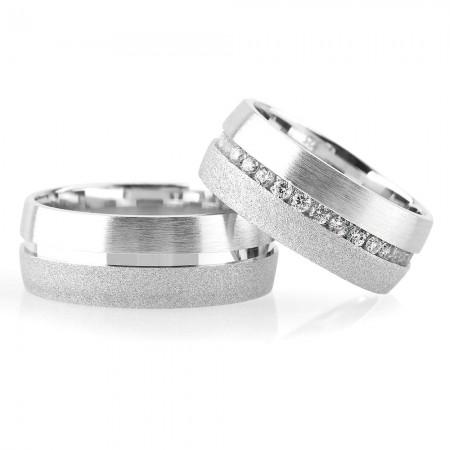 - 925 Ayar Gümüş Şeritli Klasik Çift Alyans