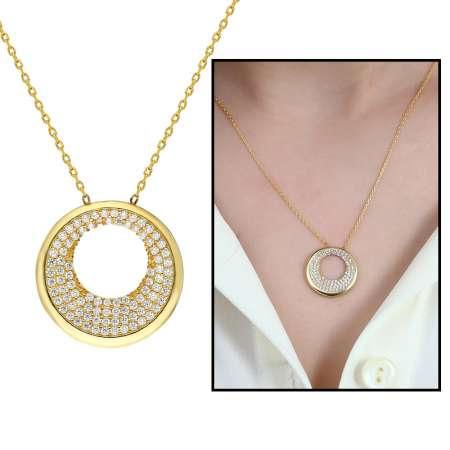 Tesbihane - Beyaz Zirkon Taşlı Sevgi Çemberi Tasarım 925 Ayar Gümüş Bayan Kolye