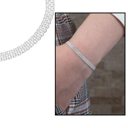 Tesbihane - 925 Ayar Gümüş Sık Örgülü Bismark Bayan Zincir Bileklik