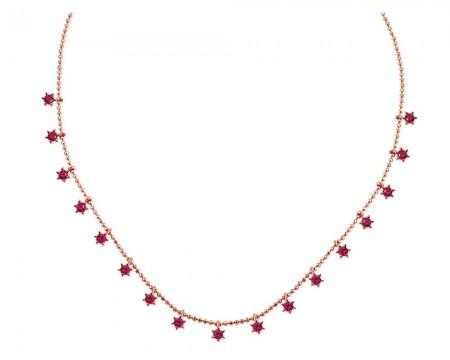 - 925 Ayar Gümüş Sıralı Pembe Zirkon Taşlı Yıldız Model Kolye