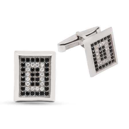 Tesbihane - 925 Ayar Gümüş Siyah Beyaz Zirkon Taşlı Dikdörtgen Kol Düğmesi
