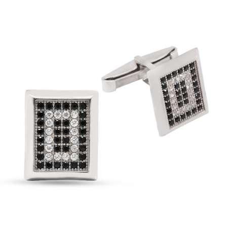 Tesbihane - Siyah-Beyaz Zirkon Taşlı Dikdörtgen Tasarım 925 Ayar Gümüş Kol Düğmesi