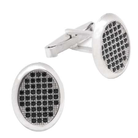Tesbihane - Siyah-Beyaz Zirkon Taşlı Oval Tasarım 925 Ayar Gümüş Kol Düğmesi