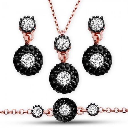 - 925 Ayar Gümüş Siyah Beyaz Zirkon Taşlı Set