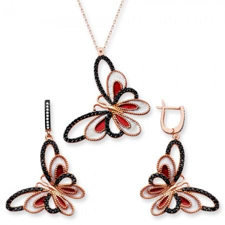 Tesbihane - 925 Ayar Gümüş Siyah Kırmızı Taşlı Kelebek Set (SRD0267)
