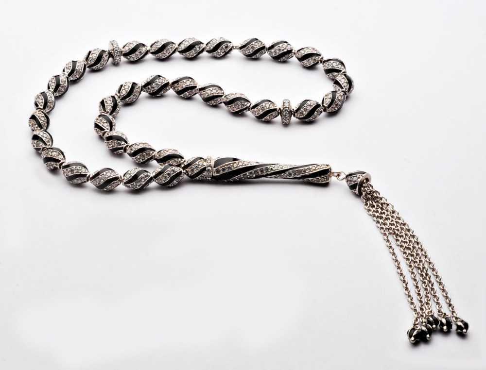 925 Ayar Gümüş Siyah Mine Kaplamalı Zirkon Taşlı Tesbih