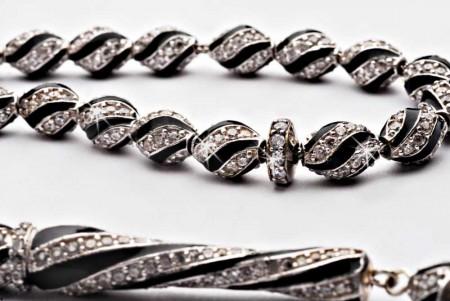 925 Ayar Gümüş Siyah Mine Kaplamalı Zirkon Taşlı Tesbih - Thumbnail