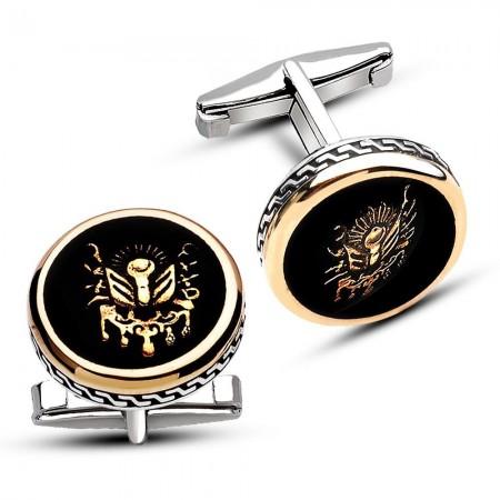 - 925 Ayar Gümüş Siyah Mine Üzeri Armalı Kol Düğmesi