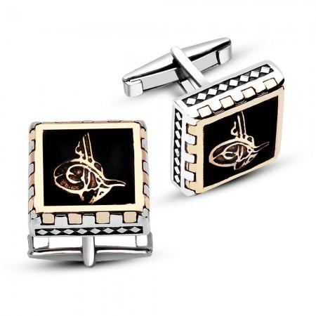 - 925 Ayar Gümüş Siyah Mine Üzeri Tuğralı Kare Model Kol Düğmesi