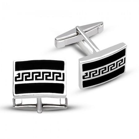 Tesbihane - 925 Ayar Gümüş Siyah Mine Üzerine Labirent Tasarım Kol Düğmesi