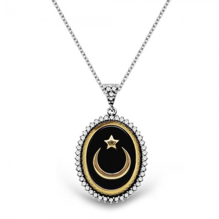- 925 Ayar Gümüş Siyah Mineli Ayyıldız Kolye