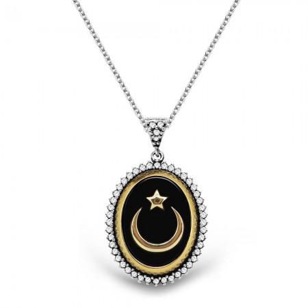 Tesbihane - 925 Ayar Gümüş Siyah Mineli Ayyıldız Kolye