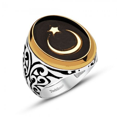 925 Ayar Gümüş Siyah Mineli Ayyıldız Yüzük - Thumbnail