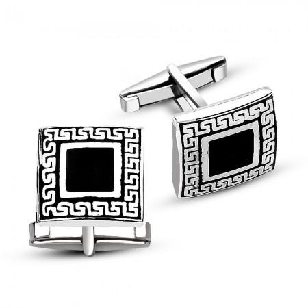 - 925 Ayar Gümüş Siyah Mineli Kare Kol Düğmesi
