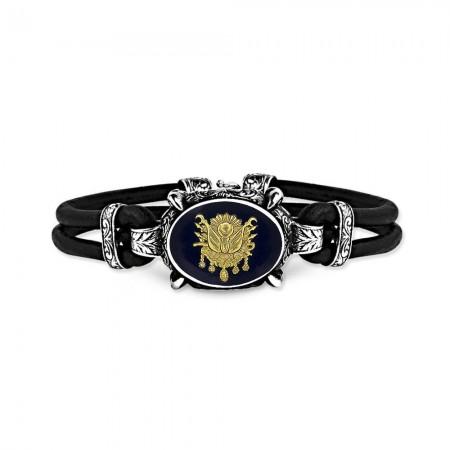 - 925 Ayar Gümüş Siyah Mineli Osmanlı Armalı Bileklik