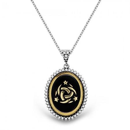 Tesbihane - 925 Ayar Gümüş Siyah Mineli Teşkilat-ı Mahsusa Logolu Kolye