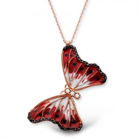 - 925 Ayar Gümüş Siyah Noktalı Kırmızı Kelebek Kolye