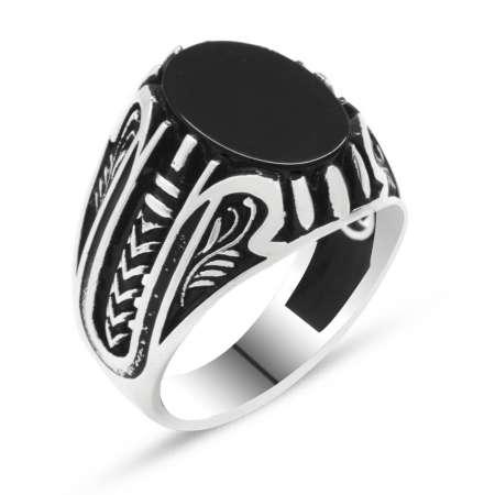 925 Ayar Gümüş Siyah Oniks Taşlı Erkek Yüzük - Thumbnail
