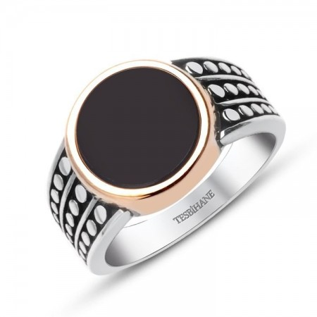 - 925 Ayar Gümüş Siyah Oniks Taşlı Yüzük